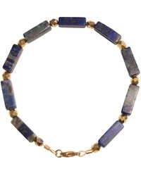 Shinar Jewels 22kt Gold Plated Lapis Lazuli Egyptian Bracelet 1 - Metallic