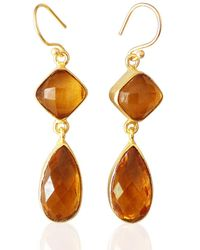 Bhagat Jewels 18kt Yellow Gold Plated & Yellow Synthetic Citrine Teardrop Earrings