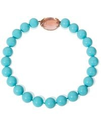 Mara Hotung Turquoise Shell Bead Necklace With Rose Quartz & Pink Sapphire Clasp - Blue