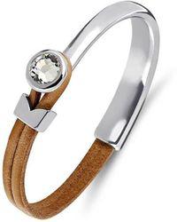 Yan Neo London Poppy Tan & Silver Leather Bracelet - Multicolour