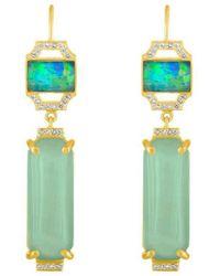 Amy Glaswand - 18kt Gold, Aquamarine & Opal Jazz Earrings - Lyst