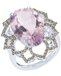 Arya Esha - White Gold, Oval Amethyst & Diamond Ring | - Lyst