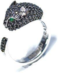 ERAYA 18kt White Gold Panther Diamond Ring - Multicolour