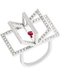 Jaime Moreno Designer Jewelry White Gold & Ruby Libro Ring | Jaime Moreno - Metallic