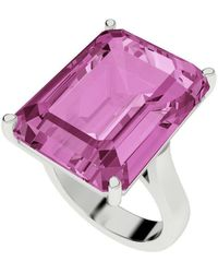 StyleRocks Pink Sapphire Emerald Cut Sterling Silver Cocktail Ring - Uk I - Us 4.5 - Eu 48 - Multicolour