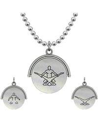 Allumer Sutra 30mm Silver Pendant Necklace - Boy And Boy - The Eagle - Metallic
