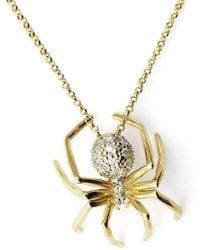J.Herwitt - Large Spider Necklace Yellow Gold White Rhodium - Lyst
