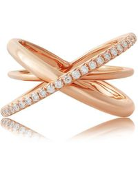 Jooal Entwined Ring In Rose Gold And Diamonds - Multicolor
