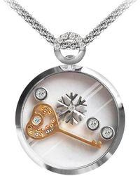 Chekotin Jewellery White & Rose Gold Key & Snowflake Pendant | - Multicolour