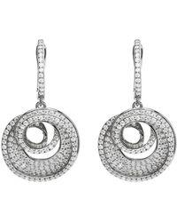 Lustre of London - White Spiral Drop Earrings - Lyst