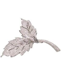 Ri Noor 18kt White Gold Two Leaf Diamond Brooch - Metallic