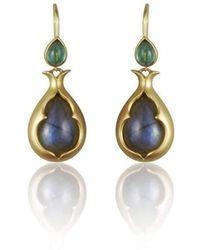 Anahita Jewelry - 18kt Yellow Gold Double Gemstone Drop Earrings - Lyst