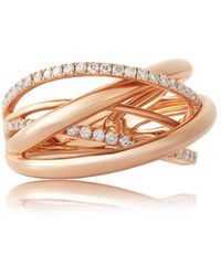 Jooal Orbit Ring In Rose Gold And Diamonds - Metallic
