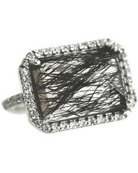 Shimmer by Cindy Rhodium Plated East West Ring With Black Rutile