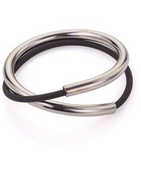 Noritamy - Open Tube And Silicon Bracelet Silver Tone - Lyst