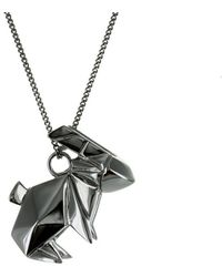 Origami Jewellery - Rabbit Black Silver Necklace - Lyst