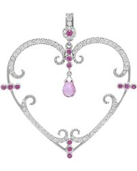 Rhonda Faber Green Designs - Filigree Pink Sapphire And Diamond Large Heart Pendant - Lyst