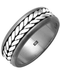 Prism Design - Titanium And Silver Rope Ring - Lyst