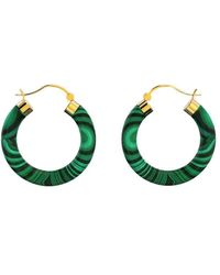 MARCELLO RICCIO Yellow Gold Plated Sterling Silver Malachite Earrings - Green