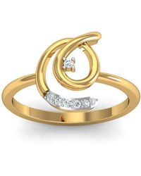 Diamoire Jewels - 18kt Yellow Gold Pave 0.04ct Diamond Infinity Ring Iv - Lyst