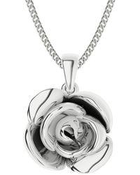 StyleRocks Sterling Silver Rose Charm Necklace - Metallic