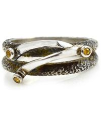 Lisa Robin Ring Band In Sterling Silver And Yellow Sapphire - Metallic