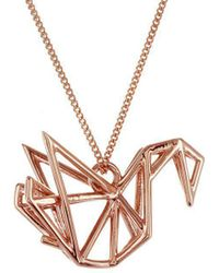 Origami Jewellery - Sterling Silver & Pink Gold Frame Swan Origami Necklace - Lyst