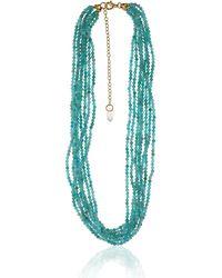 Earth's Tears by Elena Kontorousi Gold Plated Silver & Swarovski Crystal Aqua Necklace - Blue