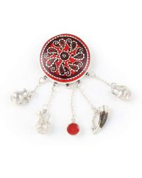 Kimili Red Brooch With Georgian Traditional Elements - Multicolour