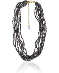 Earth's Tears by Elena Kontorousi Gold Plated Silver Iolite & Swarovski Crystal Necklace - Metallic