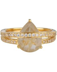 Shimmer by Cindy Yellow Gold Plated Wrap Ring With Clear Glass Stone - Metallic