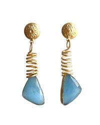 Bhagat Jewels 18kt Yellow Gold Plated Blue Monalisa Dangle Earrings