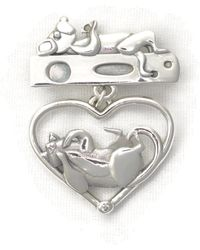 Donna Pizarro Designs Sterling Silver And Diamond Cat Brooch