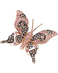 Pinomanna - Rose Gold & Pink Sapphire Natural Chic Butterfly Necklace   - Lyst