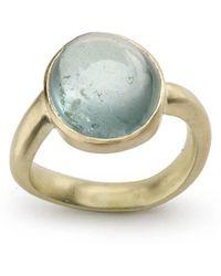 Julia Lloyd George - 14kt Yellow Gold Aquamarine Ring With Wavy Shank - Lyst