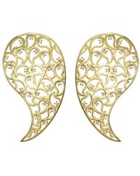 Sonal Bhaskaran - Jaali Gold Paisley Earrings With Clear Cubic Zirconia - Lyst