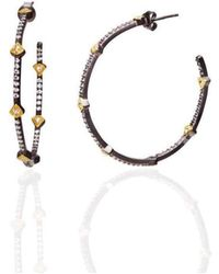 Freida Rothman | Two Tone Large Pave Times Square Earrings | Lyst
