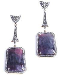 M's Gems by Mamta Valrani - Purple Rain Earrings With Diamonds And Ruby - Lyst