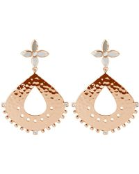 Murkani Jewellery Rose Gold Large Hanging Earrings With Mother Of Pearl And White Topaz - Multicolor