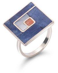 SOLUNA Sterling Silver Mosaic Duality Ring - Metallic