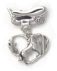 Donna Pizarro Designs Sterling Silver Horse Brooch With Saddle And Desert Cactus