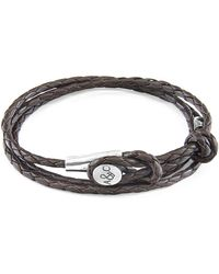 Anchor & Crew - Dark Brown Dundee Silver And Braided Leather Bracelet - Lyst