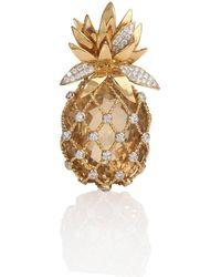 Mara Hotung 18kt Yellow Gold Pineapple Brooch With Citrine & Diamonds - Metallic