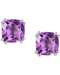 Amore Argento - Rhodium Plated Sterling Silver Vivacious Violet Earrings - Lyst