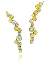 Madstone Design - Melting Ice Yellow Ear Cuffs With Diamonds And Yellow Sapphire - Lyst