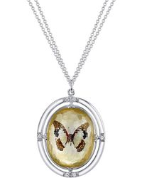 Spencer Fine Jewelry - Double Sided Gold-dusted Spencer Portrait Butterfly Silver Pendant - Lyst