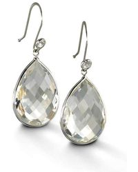 BCOUTURE - White Topaz Accent Drop Earrings In White Gold - Lyst
