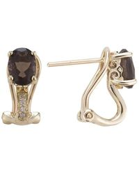 Lali Jewels - 14kt Yellow Gold Diamond And Smoky Quartz Earring - June Birthstone - Lyst