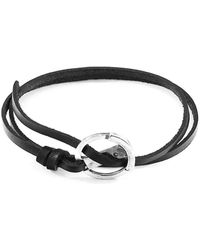 Anchor & Crew - Coal Black Ketch Silver And Leather Bracelet - Lyst
