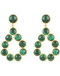 LÁTELITA London Hatun Gemstone Statement Earrings Gold Malachite - Green